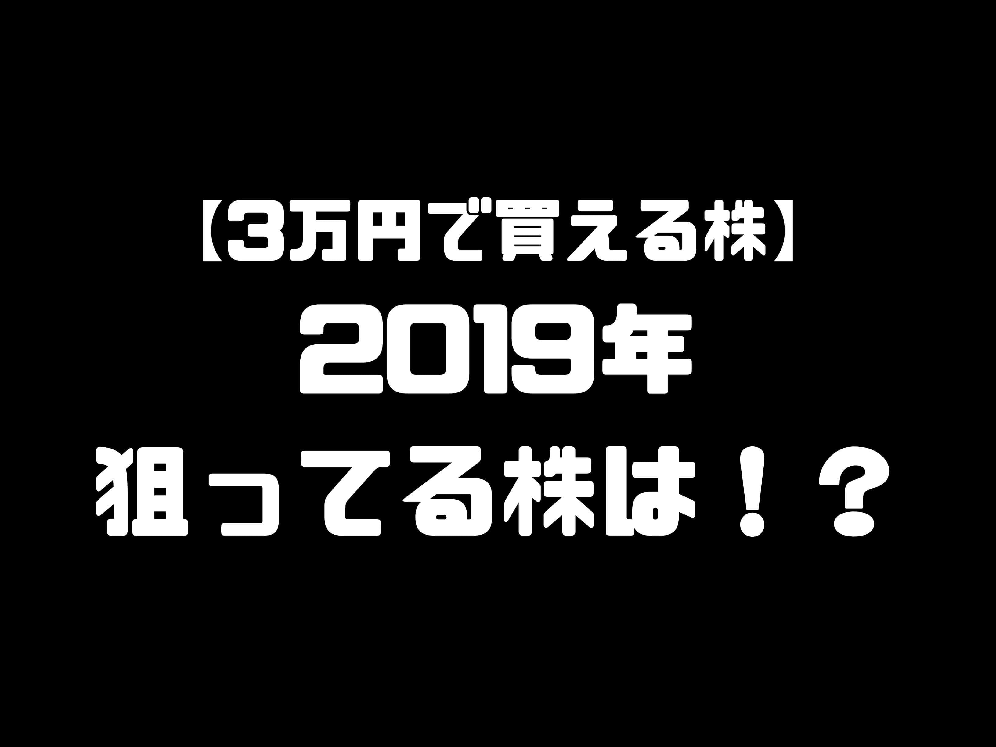 【3万円で買える株】2019年度の狙い目株はどれだ?